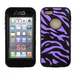 iPhone 5 5S Zebra Defender case with Built In Screen (Purple - Black)