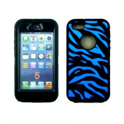 iPhone 5 5S Zebra Defender case with Built In Screen (Black-Blue)