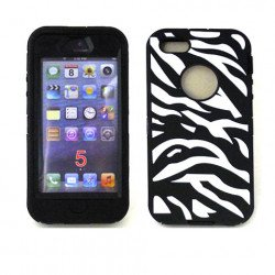iPhone 5 5S Zebra Defender case with Built In Screen (Black-White)