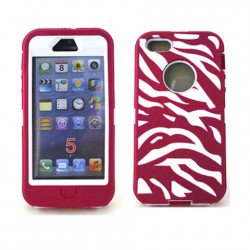 iPhone 5 5S Zebra Defender case with Built In Screen (Pink-White)
