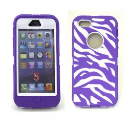 iPhone 5 5S Zebra Defender case with Built In Screen (Purple-White)