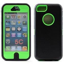 Apple iPhone 5C Armor Defender Case with Built In Screen (Black - Green)