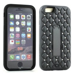Apple iPhone 6 4.7 Diamond Armor Hybrid w Screen and Stand (Black)