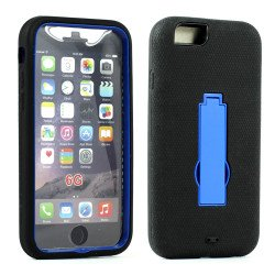 Apple iPhone 6 4.7 Armor Hybrid Case w Screen and Stand (Black Blue)