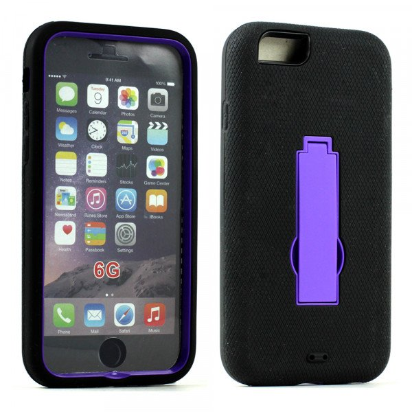 Wholesale Apple iPhone 6 4.7 Armor Hybrid Case w Screen and Stand (Purple Black)