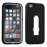 Wholesale Apple iPhone 6 4.7 Armor Hybrid Case w Screen and Stand (White Black)
