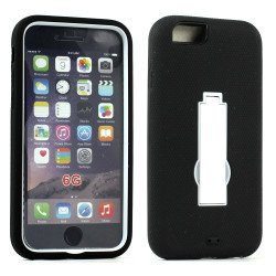 Apple iPhone 6 4.7 Armor Hybrid Case w Screen and Stand (White Black)
