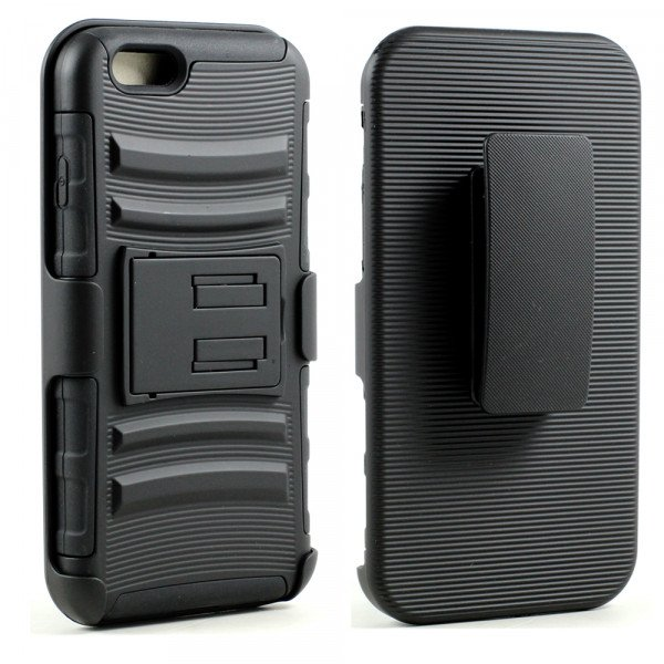 Wholesale Apple iPhone 6 4.7 TPE Armor Shell Holster Combo Belt Clip (Black)