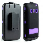 Wholesale HTC Evo 4G Armor Defender Case with Holster Clip (Black - Purple)
