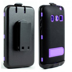 HTC Evo 4G Armor Defender Case with Holster Clip (Black - Purple)