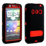 Wholesale HTC Evo 4G Armor Defender Case with Holster Clip (Black - Red)