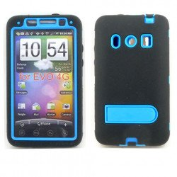 HTC Evo 4G Armor Defender Case with Holster Clip  (Black-Blue)