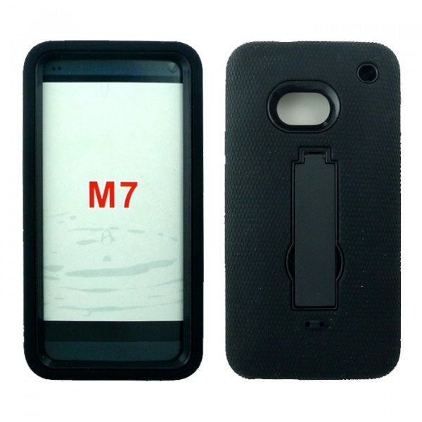Wholesale HTC One / M7 Armor Hybrid with Kickstand (Black-Black)