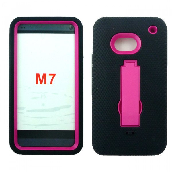 Wholesale HTC One / M7 Armor Hybrid with Kickstand (Black-Hot Pink)