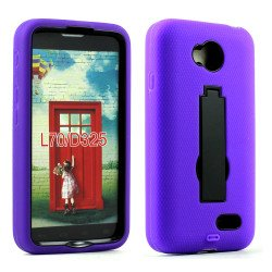 LG Optimus L70 Armor Hybrid Stand Case (Purple Black)