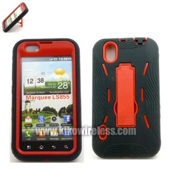 Wholesale LG Marquee LS855 Armor Hybrid Case with Stand (RedBlack)