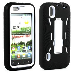 LG Marquee LS855 Armor Hybrid Case with Stand (Black White)