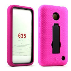 Nokia Lumia 635 Armor Hybrid Stand Case (Hot Pink Black)