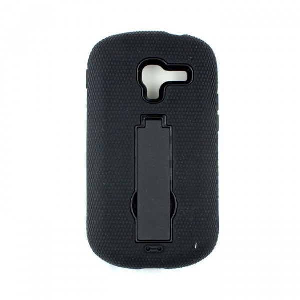 Wholesale Galaxy Exhibit T599 Armor Hybrid Case with Stand (Black-Black)
