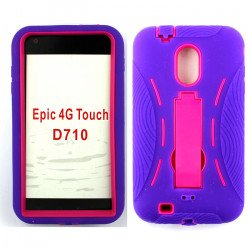 Samsung Galaxy S2 / D710 Armor hybrid Case with Stand (Purple-Hot Pink)