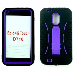 Samsung Galaxy S2 / D710 Armor hybrid Case with Stand (Black-Purple)