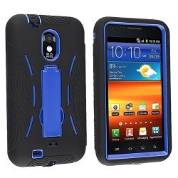 Samsung Galaxy S2 / D710 Armor hybrid Case with Stand (Black-Blue)
