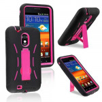 Wholesale Samsung Galaxy S2 / D710 Armor hybrid Case with Stand (Black-Hot Pink)