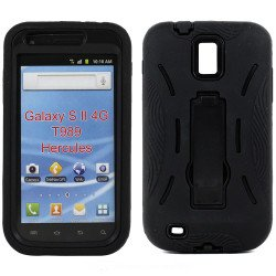 Samsung Galaxy S2 / T989 Armor Hybrid Case with Kickstand (Black-Black)