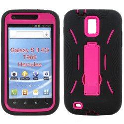 Samsung Galaxy S2 / T989 Armor Hybrid Case with Kickstand (Black-Hot Pink)