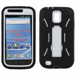 Wholesale Samsung Galaxy S2 / T989 Armor Hybrid Case with Kickstand (Black-White)