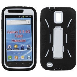 Samsung Galaxy S2 / T989 Armor Hybrid Case with Kickstand (Black-White)