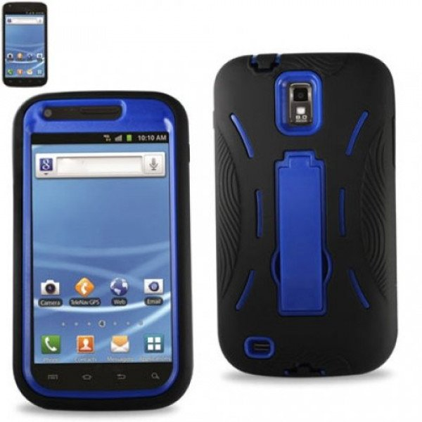 Wholesale Samsung Galaxy S2 / T989 Armor Hybrid Case with Kickstand (Black-Blue)
