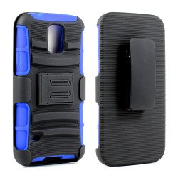 Samsung Galaxy S5 Armor Shell Case Stand and Holster Clip (Black Blue)