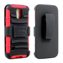 Samsung Galaxy S5 Armor Shell Case Stand and Holster Clip (Black Red)
