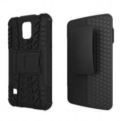 Samsung Galaxy S5 Rugged Hybrid Case Stand and Holster Clip (Black)