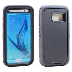 Galaxy S7 Premium Armor Defender Case (Black-Black)