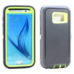 Galaxy S7 Premium Armor Defender Case (Black-Lime Green)