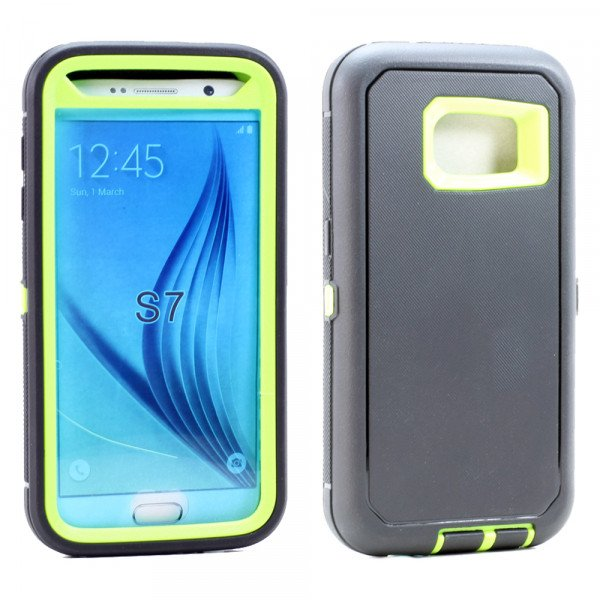 Wholesale Galaxy S7 Premium Armor Defender Case (Black-Lime Green)
