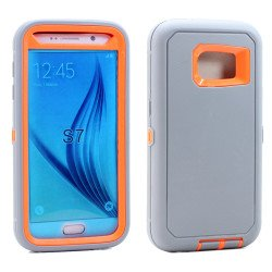 Galaxy S7 Premium Armor Defender Case (Gray-Orange)