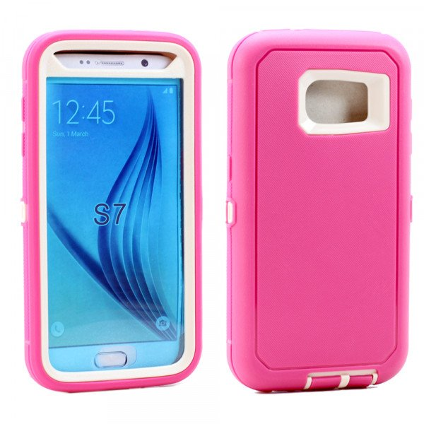 Wholesale Galaxy S7 Premium Armor Defender Case (Hot Pink-White)