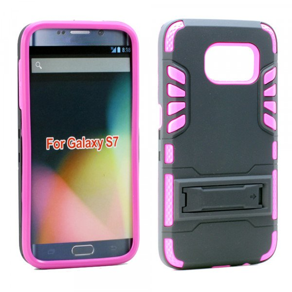 Wholesale Samsung Galaxy S7 Hard Shield Hybrid Case (Hot Pink)