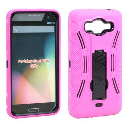 Samsung Galaxy Grand Prime G530 Armor Hybrid Stand Case (Hot Pink)