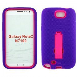 Note 2 / N7100 Armor Hybrid Case with Stand (Purple - Hot Pink)