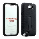 Wholesale Note 2 / N7100 Armor Hybrid Case with Stand (Black-Black)