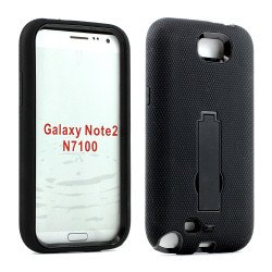 Note 2 / N7100 Armor Hybrid Case with Stand (Black-Black)