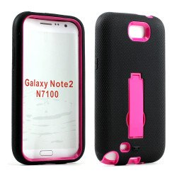 Note 2 / N7100 Armor Hybrid Case with Stand (Black-Hotpink)