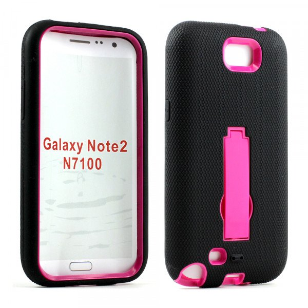 Wholesale Note 2 / N7100 Armor Hybrid Case with Stand (Black-Hotpink)