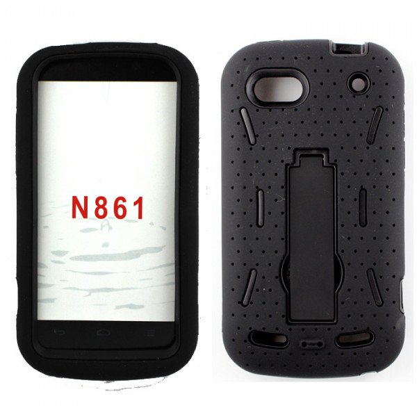 Wholesale N861 ZTE WARP Sequent Armor Hybrid case with stand (Black-Black)