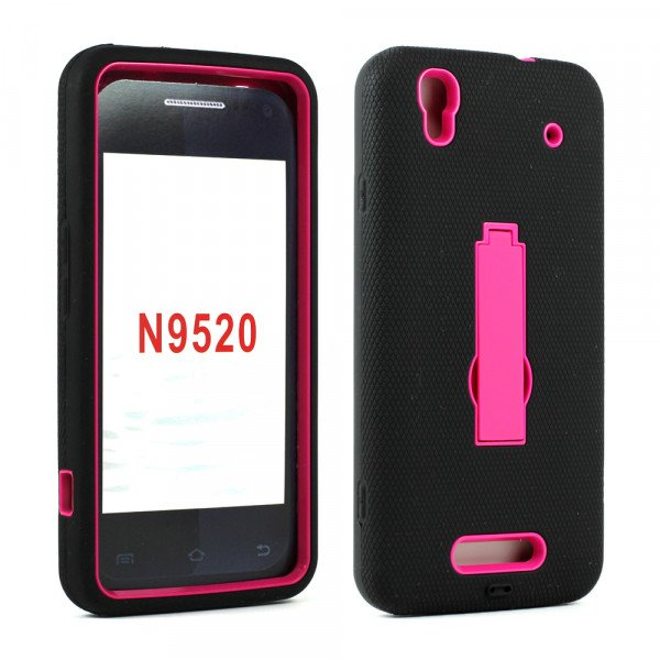 Wholesale ZTE Boost Max+ Boost Max N9521 N9520 Armor Hybrid with Stand (Black Hot Pink)