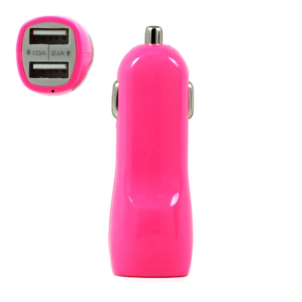 Wholesale 2 Usb Output Cell Phone Car Adapter Charger Pink